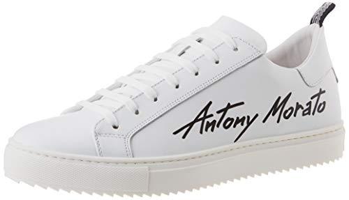 Antony Morato Sneaker Screen IN Pelle, Oxford Plano Hombre, Bianco, 42 EU
