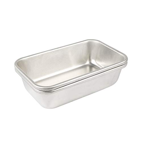 BoxedHome Pure Aluminum Baking Pans Bakeware Set Even-Heating Cake Pan Set (2-Pack 6'' x 9.5'' High-Sided Bread Pan)
