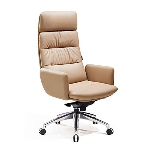 Sillas de Moda computadora ejecutiva giratoria casera cómoda y Simple Oficina del Gerente General ejecutiva de Cuero (Color : Beige, Size : 51 * 51 * 124cm)