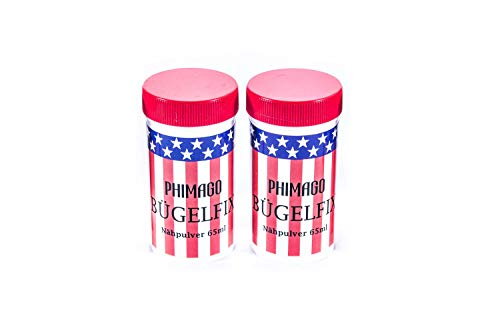 PHIMAGO Bügelfix ® 2 x 65ml Nähpulver Bügelpulver - Nähen ohne Nadel oder Faden - z.B. zur schnellen Reparatur von Kleidung