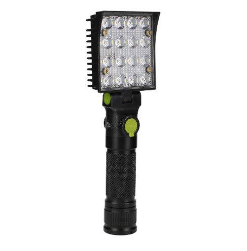 Linterna recargable usb linterna led blanco rojo + azul flash luces de trabajo con imanes y ganchos linterna por batería 18650