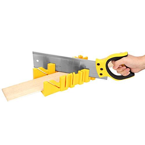 lyrlody Caja de ingletadoras, de plástico, de 30,48 cm, con múltiples ángulos, para cortar madera, sierra de mano con sierra trasera de 35,56 cm para carpintería