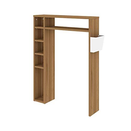 LEVIRA Mueble de baño, Estantería para baño Helmer, 80 x 21 x 106 - Nogal Troia y Blanco
