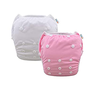 Alva Baby Swim Diapers Large One Size 2pcs Pack Reuseable Washable & Adjustable for Swimming Lesson & Baby Shower Gifts ZSWB09-18