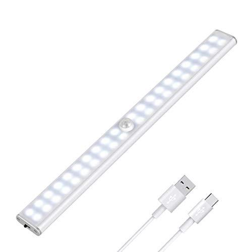 Tanbaby Luce per Armadio, Lampada Armadio 40 LED con Sensore Movimento, Batteria Ricaricabile, Luce LED con Striscia Magnetica Adesiva, per Armadio, Scale, Corridoi, Cucina, Garage (Bianca)