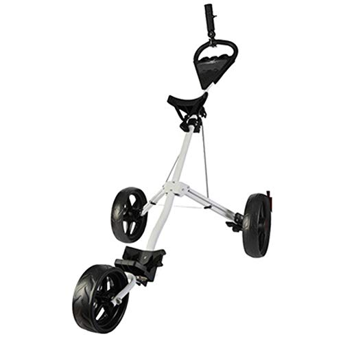 Wheel Push Pull Golf Cart, Golf Push Cart Swivel Foldable 3 Wheels Pull Cart Golf Trolley with Umbrella Stand Golf Cart