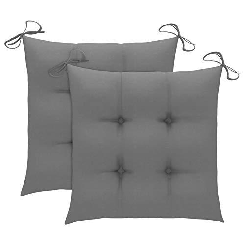 Tidyard Cojines de Silla 2 Unidades Cojines de Asiento para Sillas de Jardín Cojín de Silla de Comedor Tela Gris 50 x 50 x 7 cm
