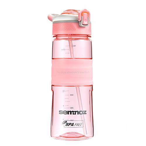 Kslong 水筒Tritan 飲料ボトル ポータブル旅行自転車プラスチックアウトドアスポーツボトル大きい (ピンク, 650ml)