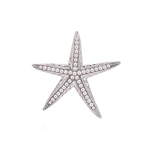 SHUTING2020 Broches de Boda Broches de Estrellas de mar, corsages de Perlas Hechas por el Hombre. Broche de Vestir (Color : A)