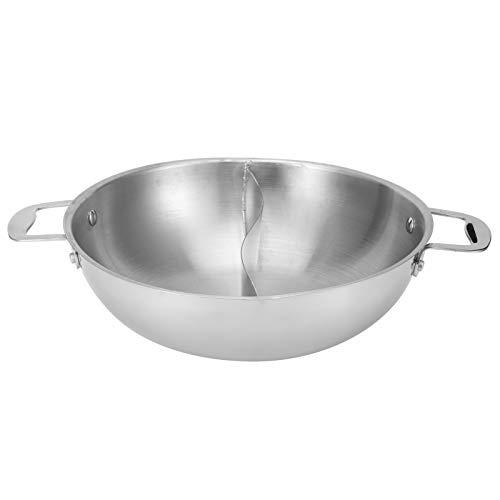 Jingyi Shabu-Kocher, doppelseitiges Trennwanddesign, Hot Pot-Edelstahl-Shabu-Kocher mit Trennwänden Kochtöpfe ohne Deckel für Familien- und Freundepartys