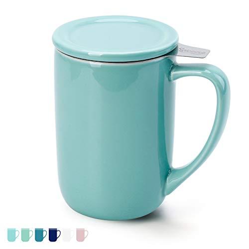 Sweese 203.102 Teetasse mit Deckel und Sieb, Tee tassen Porzellan für Losen Tee Oder Beutel, Helltükis, 450 ml