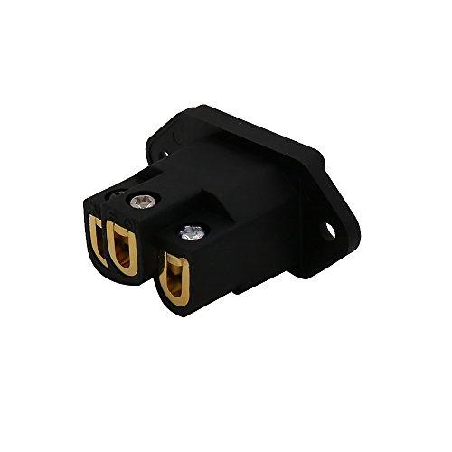 Viborg AC 250V 10A IEC320 C14 Panel Mount Plug Adapter Power Connector Socket Screw Mount 3 Pins Inlet Male Power Plug Socket Audio Grade (Gold Plated, Black)