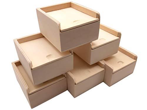 benelea | Boxen Aufbewahrung mit Deckel klein, Natur 6er-Set | Box mit Deckel je 9,6 x 8,3 x 5,2 cm | Kleine Aufbewahrungsboxen mit Deckel Set aus Holz, Holzkiste, Holzbox als Geschenkbox mit Deckel