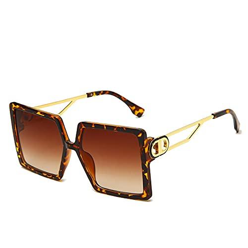 JINZUN Caja de Gafas de Sol de Moda Marco Grande Parasol de Metal Espejo Gafas de Sol Huecas de Moda Protección UV C3