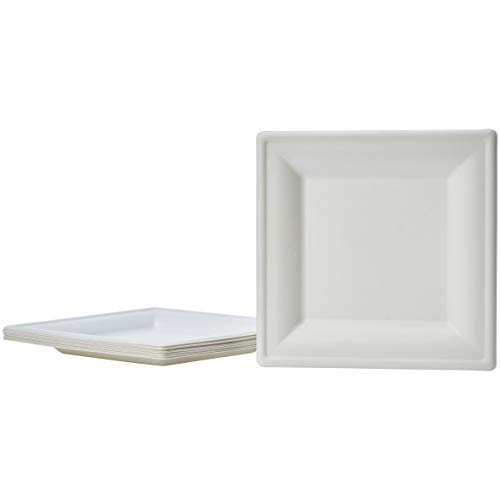 Amazon Basics Compostable Square Plates, 6-Inches, Pack of 500