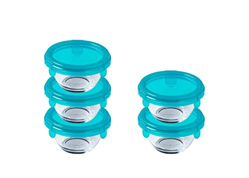 Pyrex - My First Pyrex+ - 5 Pieces Round Glass containers with airtight/Leak Proof Blue lid - 0.2l - Cook in The Oven, Perfect for Meal prep and take Away- BPA Free - Made in France