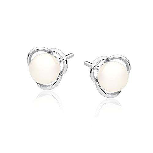 **Beforya Paris** - Ohrstecker - *Perlen Blumen* - Silber 925 - *Creme* - Ohrringe mit Perlen von Swarovski® - Schön Damen Ohrringe mit Schmuckbox PIN/75
