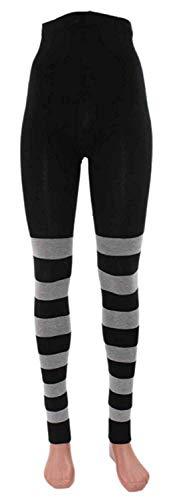 Ringel-Leggings Bio Baumwolle, Farben alle:schwarz-graumeliert geringelt;Größe:48/50