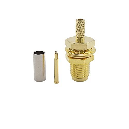 Xihe Conector de Cable Adaptador coaxial 1 unids Chapado en Oro RP SMA Jack Bulkhead Crimp RF Cable coaxial Conector Recto for RG316 RG174 LMR100 Cable de Cable