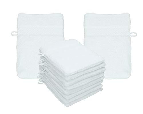 Betz Lot de 10 Gants de Toilette Palermo 100% Coton Taille 16x21 cm Plusieurs Couleurs au Choix (Blanc)