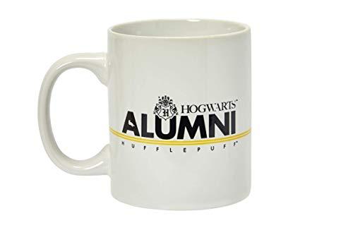 Harry Potter Hufflepuff Alumni Taza de 11 onzas Taza de cerámica blanca con asa Hogwarts Crest House Raya amarilla con letras negras del mundo mágico de Rowling