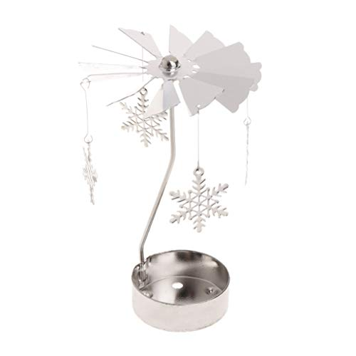 Logres Drehbarer Teelichthalter aus Metall, Karussell, Eisen, Snowflake