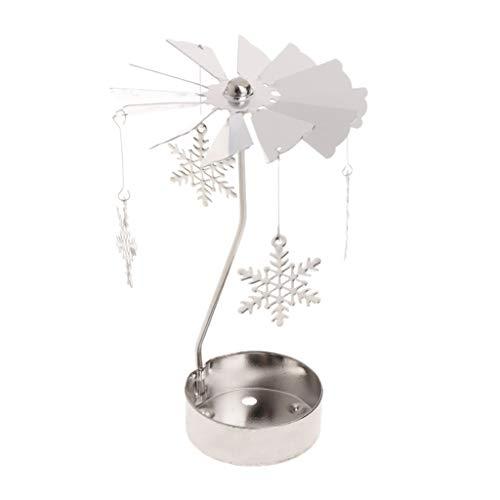 GROOMY Kerzenhalter Rotary Spinning Teelicht Metall Teelicht Karussell Home Decor Ornament Geschenk - Schneeflocke