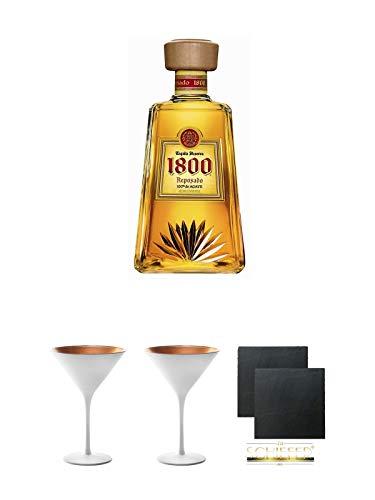 1800 Jose Cuervo Tequila Reposado 0,7 Liter + Stölzle Cocktail-und Martiniglas Olympic Serie 2 Stück + Schiefer Glasuntersetzer Ø 2 Stück