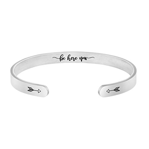 Mindful Jewelry Intention Yoga Gift Inspirational Cuff Bangle Silver Stainless Steel Be Here Now Bracelet