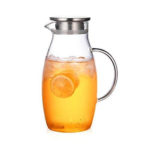 Glazen kruik/1800ml Druppelvrije kruik met deksel/Explosiebestendige hittebestendige glazen waterkruik/voor zelfgemaakte dranken/ijsthee