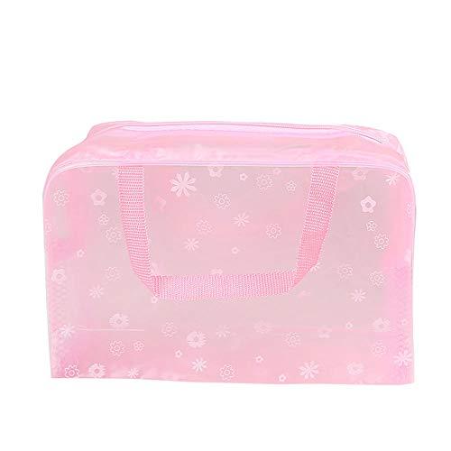 Le donne viaggiano Borsa cosmetica trasparente con cerniera bauletto astuccio per il trucco borse per trucco organizer per borse da bagno trasparente per WC