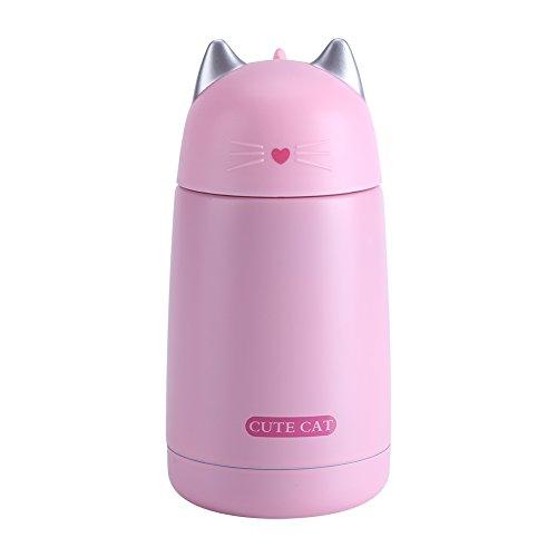 Frasco de acero inoxidable - Botella de agua de dibujos animados de gato lindo Taza de café de viaje aislada al vacío adecuada para niños, mujeres, amantes de los gatos, regalo (330 ml, rosa)