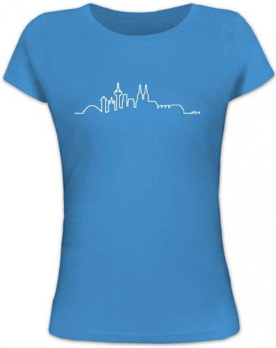 Shirtstreet24, Skyline Köln, Cologne Kölle Karneval Lady/Girlie Funshirt Fun Shirt, Größe: L,Blue Lagoon