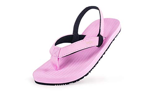 Indosole Toddlers Kids Boys Girls ESSNTLS Vegan Flip Flops [Reused Tire Sole, Natural Rubber Arch Support, Back Strap, Waterproof, Easy on, Non Slip], Size 11-12C, Pink