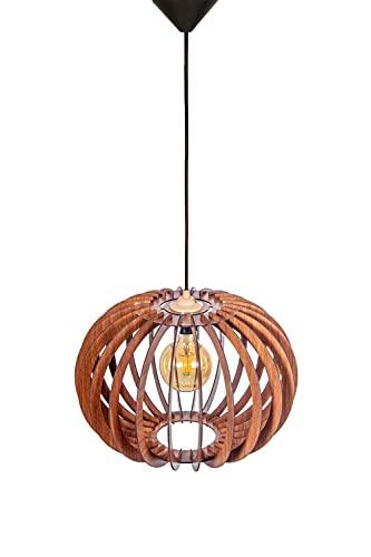 Pendente meridiano in noce DEkAViZE-16, lampadario decorativo a soffitto fatto a mano