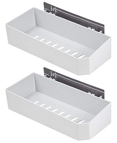 Shower Caddy Corner Shelf Wall Mounted Self Adhesive Bathroom Organizer,White 2 Pcs