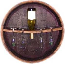 Selling Oak Wine Barrel head Stemware Super special price Rack and Bar Holder By Bottle