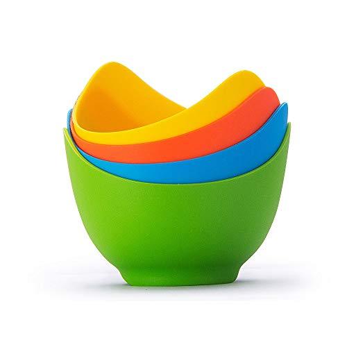 CROWNXZQ 4 Pochierter Eierkocher mit Standard-Silikonbecher für Mikrowellen- oder Herdwilderei, Bpa-freie Antihaft-Eierbecher, Blau, Grün, Gelb, Rot