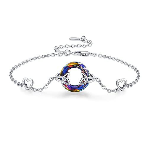 Celtic Crystal Bracelet for Women 925 Sterling Silver Friendship Celtic Knot Love Bracelets Sisters Jewelry Gifts for Christma Birthday Adjustable Bracelets