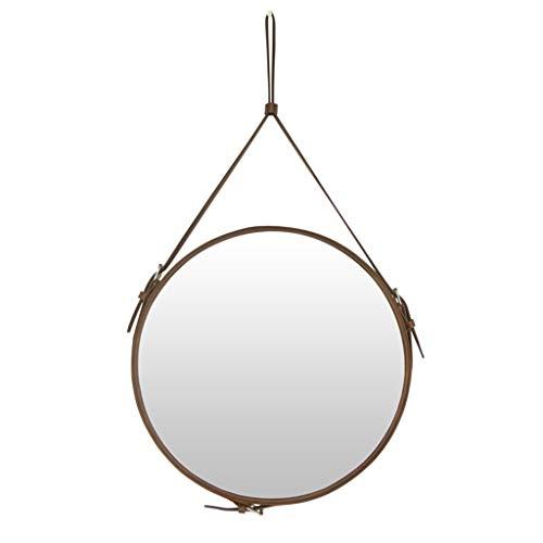 Runder Spiegel mit Hängegurt, Wandhalterung mit modernem Lederrahmen, Dekorativer Wandspiegel für Schlafzimmer, Badezimmer und Wohnzimmer