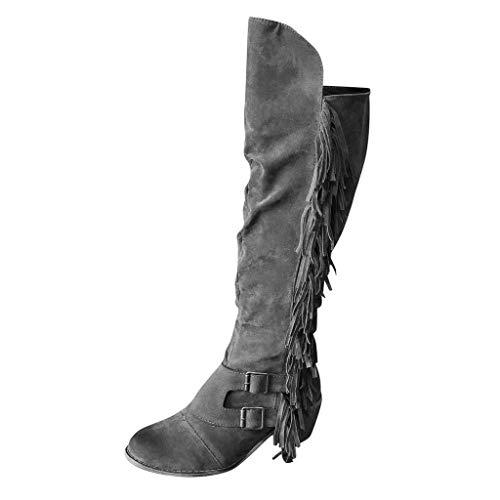 manadlian Chaussures Femmes Hiver Bottes Bottines Automne Bottes Hautes Femmes Chaussures Plates Rome Chaussures en Pompon Long Boots Retro Chaussures de Travail
