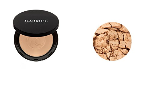 Gabriel Cosmetics, Powder Foundation (Medium Beige), 0.32 Ounce, Natural, Paraben Free, Vegan, Gluten-free, Cruelty-free, Non GMO, Pressed mineral powder, enhanced with Sea Fennel, Full coverage.