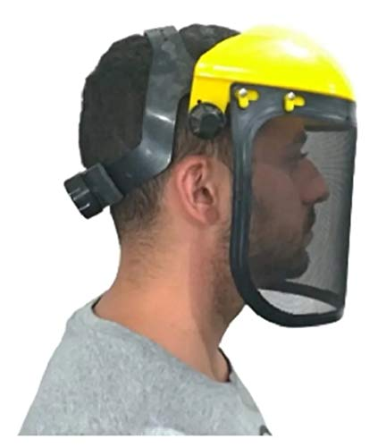 RK SAFETY Industrial Forestry Chainsaw Safety Helmet Combo Set | Hard Halmet Hat, Hearing Protection Ear Muffs, Mesh Face Shield Visor, Hold Breacket | ANSI and EN Certified (SHC101, Yellow)