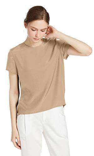 LilySilk Seide Damen Hemdbluse Kurzarm Bluse Hemd Tunika 22 Momme Verpackung MEHRWEG (L, Hell Kamel)
