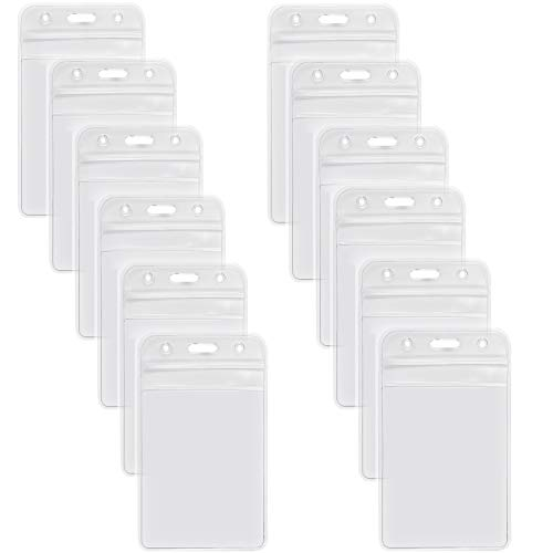 12 Pack ID Badge Holders Vertical Name Tags Hole Punched Zipper Waterproof Resealable Clear Plastic Labels Credit Card Holder for Employees Heavy Duty Pair(12 Pack-Vertical)