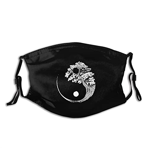 Buddha Yin Yang Face Masks for Adults,Face Balaclava Comfortable Reusable with 2 Filters for Men Women Teens Black