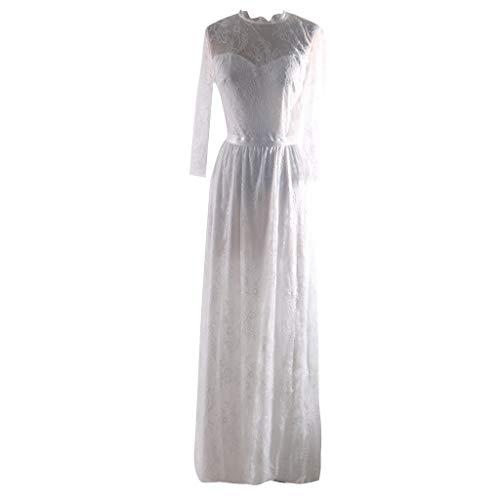 MAYOGO Cocktailkleid Hochzeit Weiß Brautkleid Standesamt Elegant Spitzen Abendkleider Ballkleid, Langarm und Rückenfrei