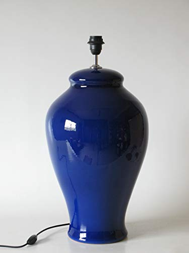 POLONIO Lámpara de Ceramica Sobremesa Macro Hall Color Azul 53 cm E27, 60 W - Pie de Lámpara de Cerámica Azul Cobalto.
