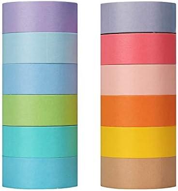 Molshine 24Rolls 3 3yd roll Macarons Washi Masking Tape Adhesive Tape 12 Basic Color for DIY product image