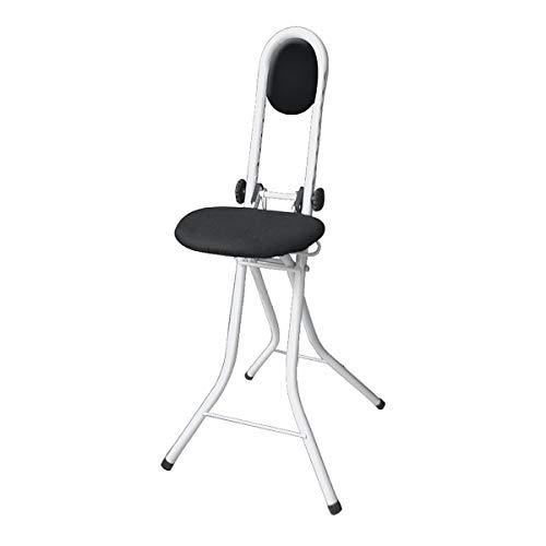 WENKO Stehhilfe Secura, Bügelstehhilfe mit Sitzkissen und Rückenkissen, Stehstuhl, höhenverstellbar, Stahl, 47 x 91,5 x 45 cm, weiß